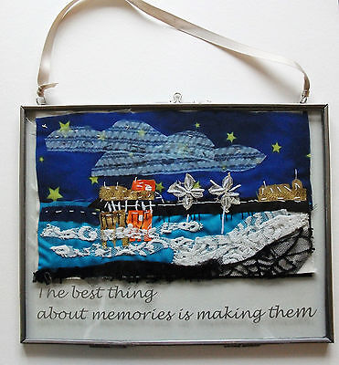 Original Hand Stitched Fabric Cromer Pier Seascape Picture In A Glass Frame