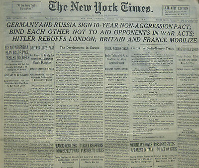 8-1939 WWII August 24 GERMANY AND RUSSIA SIGN 10 YEAR NON AGRESSION PACT; HITLER
