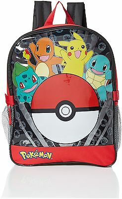 Pokemon Boys' Pocket 15 Inch Backpack with Lunch Kit Red NEW FREE SHIPPING