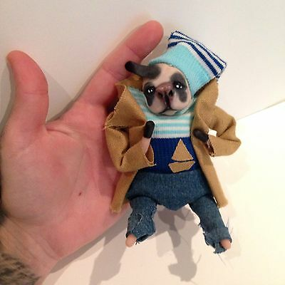 OOAK Pose Able Dog Art Doll In Sailor Outfit. Dog Lovers Gift Animal Doll
