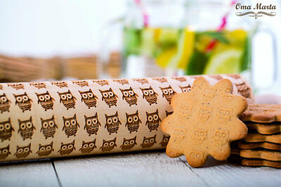 Rolling Pin Wooden Laser Engraved Rolling Owl Embossing Dough Roller print