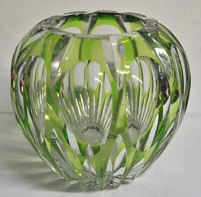 Light Green Rose Bowl/Vase Cut to Clear Crystal Glass