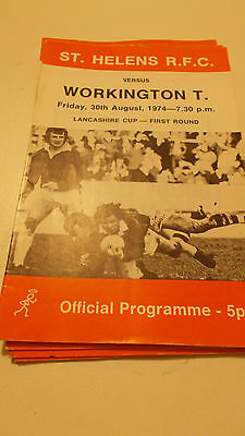 30.8.74 St Helens v Workington Town programme Lancs Cup
