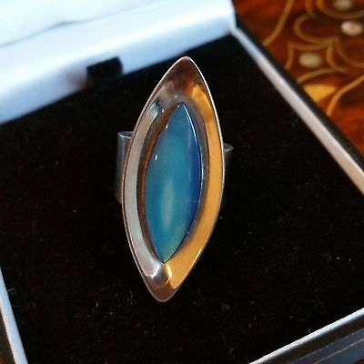VINTAGE JEWELLERY - Modernist 1960's stainless steel shell ring Teal