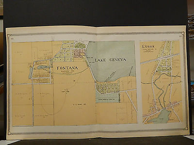 Wisconsin Walworth County Map 1907, Fontana, Double Page, Z6#37