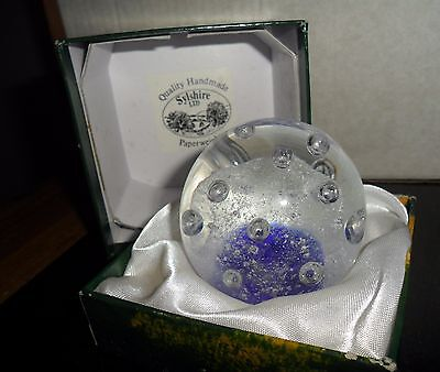 Vintage Paperweight – Blue Controlled Bubble