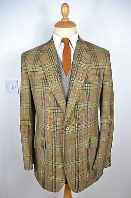 VINTAGE 1970's BLADEN GREEN CHECK TWEED CHECK WOOL BLAZER JACKET MEDIUM 40 REG
