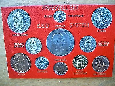 British - 1965 Nine coin cased year set + 1945 Farthing & 1938 Silver 3d