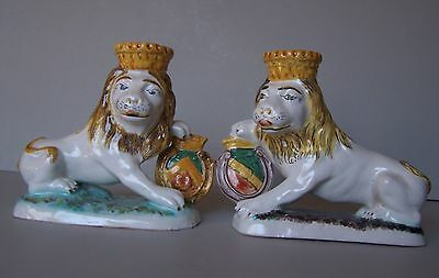 Pair MALICORNE n QUIMPER lions  French faience