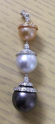 100% Authentic South Sea Tahitian Pearl 18ct Solid Gold Diamond Pendant