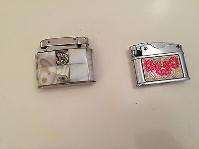 two vintage lighters, mother of pearl and sunflower