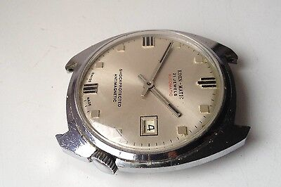 Mens Vintage Eden-Matic Automatic Swiss Made 21 Jewels Calendar Watch Spares Rep