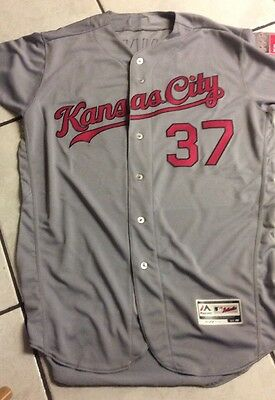 2016 Royals Game Issued Grey Mothers Day Jersey No. 37 (John Lannan)