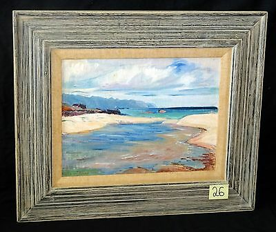 "1940 Hawaii Oil Painting ""Mokuleia Beach"" by Shirley Russell (1886-1985)(New)"