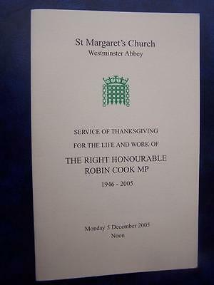Robin Cook MP  - Memorial Service  program - Social History - Ephemera