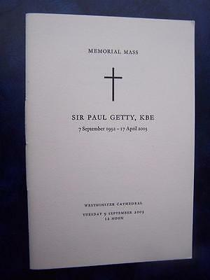 Sir Paul Getty  - Memorial Service  program - Social History - Ephemera