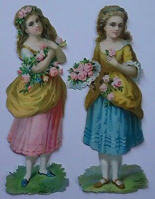 2 Pretty Diecut Embossed Victorian Scraps, Flower Girls.