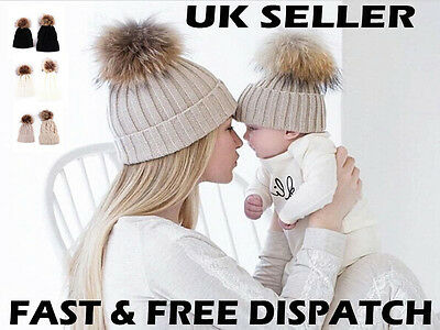 Mum & Baby Mother Child Matching Knitted Hat Warm Winter Kid Beanie Wool Skully