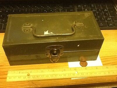 """VINTAGE OLD 1950s small FALLS CITY FISHING TACKLE TOOL BOX 8x3x4""""  lot D"""