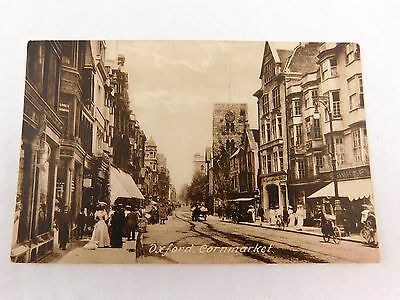Circa 1900-10 Downtown Main St Oxford, Cornmarket, UK Vintage Postcard P28