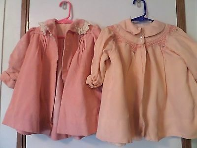 2 Vintage Infant Baby Girl pink coats jackets clothes nice 1 corduroy and satin