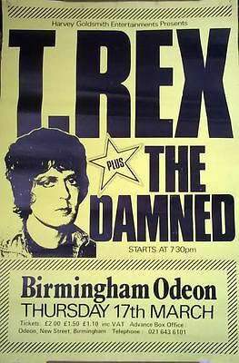 Genuine Vintage 1977 MARC BOLAN / Damned tour poster  VERY RARE punk