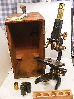 Antique  Watson & Sons Cased Microscope  & Wooden Case