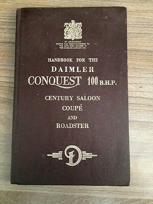 1954 Handbook For The Daimler Conquest 100 Bhp Century Saloon Coupe Roadster
