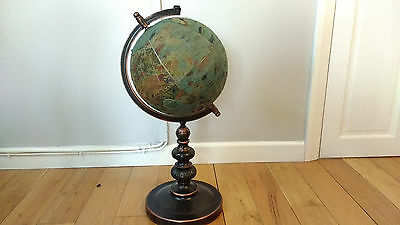 Vintage World Globe Fabric World Atlas Tall Heavy Metal Stand