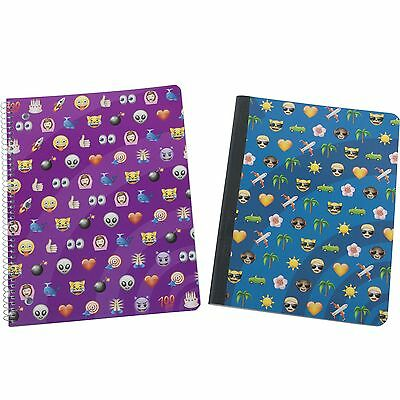 Emoji Emoticon Silly Faces Cat Monkey School Composition Spiral Notebooks 2