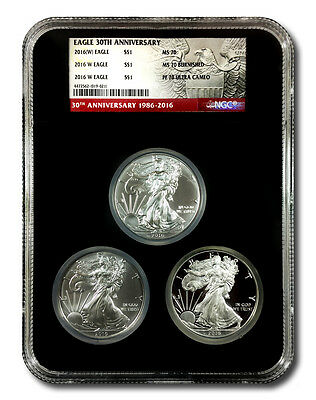 "2016 American Silver Eagle ""30th Anniversary"" 3-Coin Set - Mint State, Burnished"
