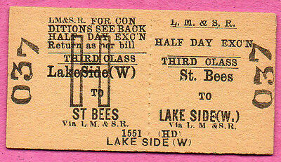 LMS Rly Ed card ticket ST. BEES to LAKESIDE. Half Day Excursion