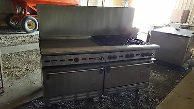"""72"""" Wolf Commercial Kitchen Gas Range 36"""" Griddle 6 Stove Burners Double Ovens"""