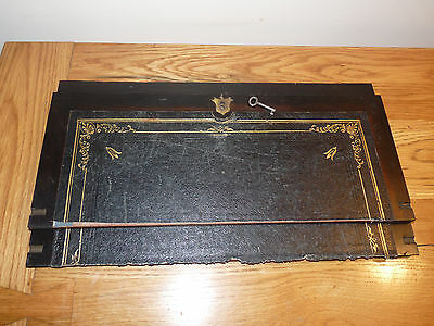Antique Writing Slope Box Restoration - Boards - With Lock And Key And Nib Rests