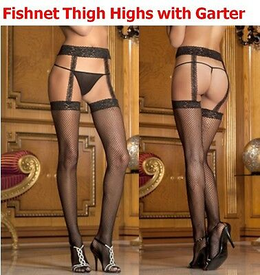 Fishnet Thigh High Stockings Stay Up with Lace Garters Hosiery Rene Rofe
