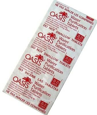 Oasis Water Purification Tablets 10 x 167mg / TREATS 200 LITRE OF WATER