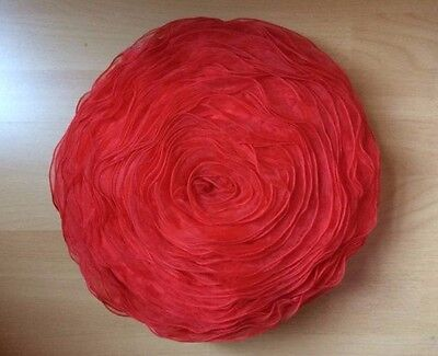 Chiffon Red Rose Design 3D Cushion Flower Shape Filled Pillow Decorative Shape
