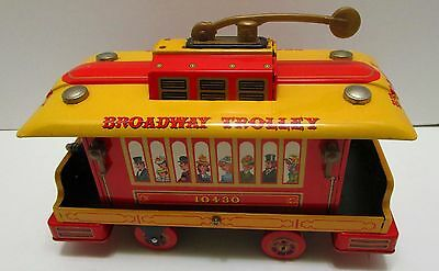 Vintage Mt Modern Toys Japan Tin Battery Operated Broadway Trolley *nice & Works