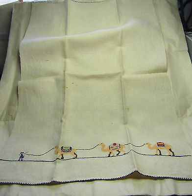 VINTAGE TEA TOWEL CAMELS early 1900s HANDMADE CROSS-STITCH