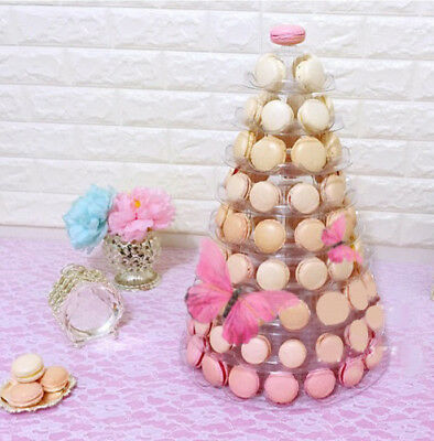 10-TIER UNIQUE FACE-FRONT ROUND FRENCH MACARON TOWER w/ ACRYLIC BASE, FOOD-SAFE