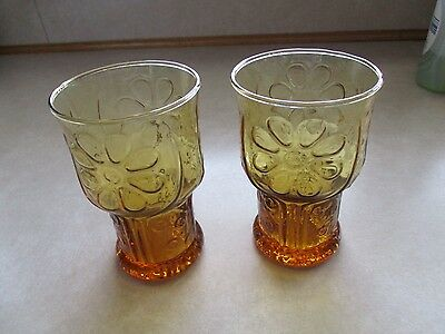 2 Libbey Glass Amber Flower Juice Tumblers Country Garden Vintage Retro