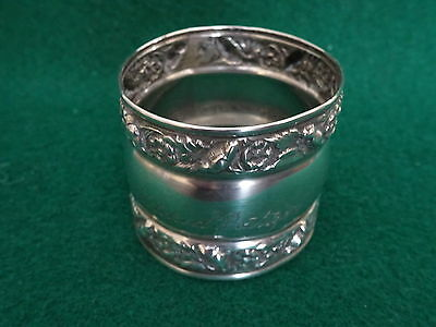 Antique Sterling Silver Engraved Napkin Ring Nr!