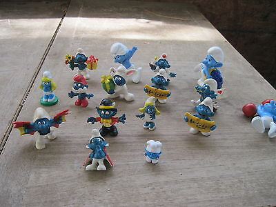 """16 Smurf Figures..All are Different.. approx. 1"""" to 3 1/2"""" tall.. All but 1 Stan"""