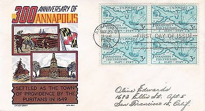 Scott 984- Annapolis FDC with block of 4 - Ken Boll cachet