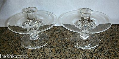 Pair Signed Steuben Crystal Candle Holders Candlestick by James McNaughton #7808