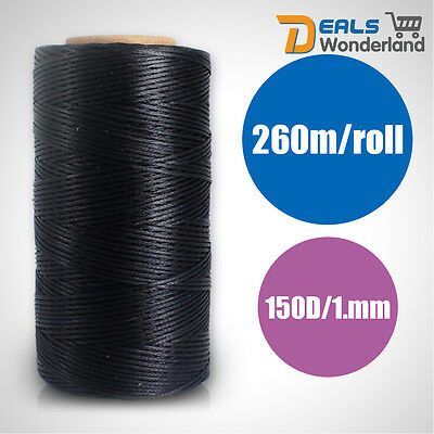 Black 1mm 260meters Strong New Waxed Hand Sewing Thread For Canvas/Leather
