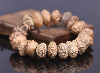 Buddhism natural pipal tree seed bead 15mm bracelet scarce little face bodhi men