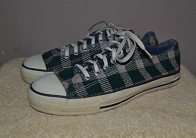 Vintage Converse All-Star Chuck Taylor Lo Plaid Flannel Shoes 9.5 Made in USA