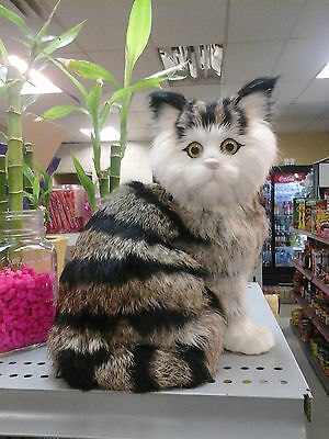 cat life-like figurine adorable kitty cuddly rabbit fur real kitten size
