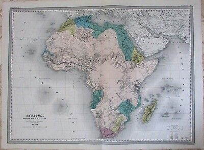 African continent colonies 1860 scarce massive Dufour antique engraved color map
